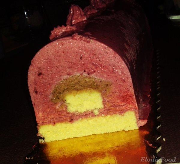 Bûche de noël glacée a la framboise & au chocolat
