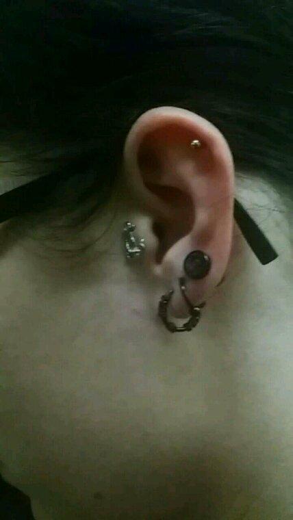 Piercings changés et un petit nouveau entre l'anneau et le plug.
