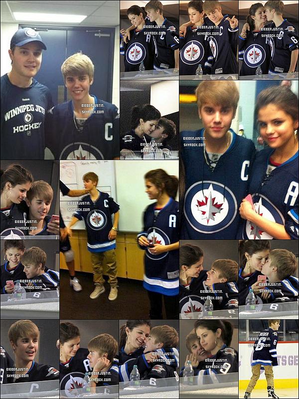 le 24/10/2011  Justin.B et sa copine Selena Gomez on assisté a un match de Hockey au Canada.