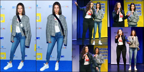05.05.2017 ─ Bella Hadid était présente à l'événement « MTV's 2017 College Signing Day », dans New-York City.La belle mannequin BH est montée sur scène avec Ashley Graham. Concernant la tenue de notre mannequin, elle était toute simple, mais jolie, c'est top !