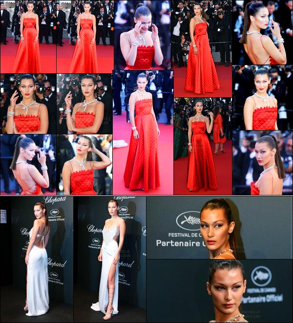 19.05.2017 ─ Bella Hadid était présente à la première du film « Okja » lors du festival de Cannes, dans Cannes FR.Un peu plus tard, la belle s'est rendue au Chopard Space Party. Quant à ses tenues, ces robes sont vraiment magnifique, coup de coeur pour la rouge.