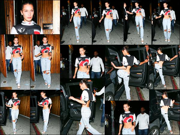 19.06.2017 ─ Bella Hadid a été photographiée alors qu'elle quittait le restaurant The Nice Guy, à West Hollywood.Décidément, nous retrouvons une nouvelle fois la belle sortant d'un restaurant. Concernant sa tenue, je ne suis pas trop fan, c'est donc un bof pour moi !