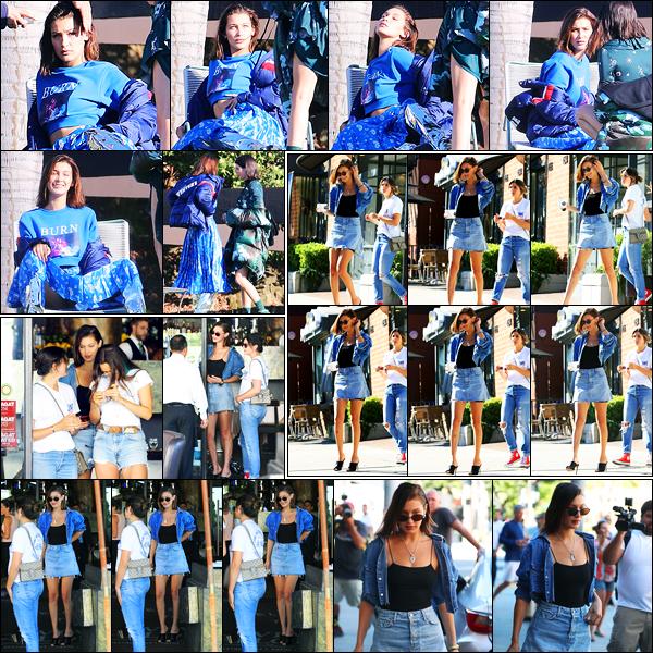 20.06.2017 ─ Bella Hadid a été photographiée, alors, qu'elle quittait le restaurant Italien Via Alloro à Beverly Hills.La veille, la belle B. a été photographiée sur un set de photoshoot avec Kendall Jenner... Concernant sa tenue, c'est beau top de ma part, et vous, avis ?