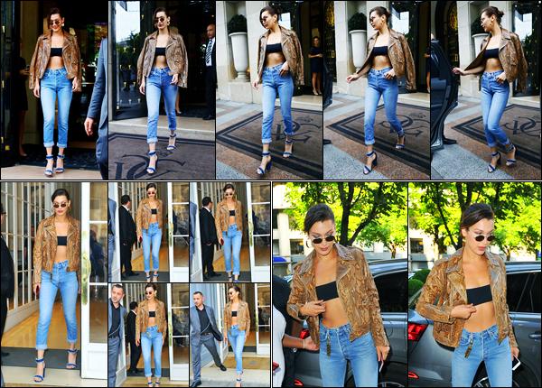22.06.2017 ─ Bella Hadid a été photographiée arrivant puis quittant son hôtel se situant dans la ville de Paris, FR.Entre les deux, la belle mannequin B. a été photographiée au bureau de la marque «Dior».. Concernant sa tenue, elle est plutôt jolie, c'est donc un top !