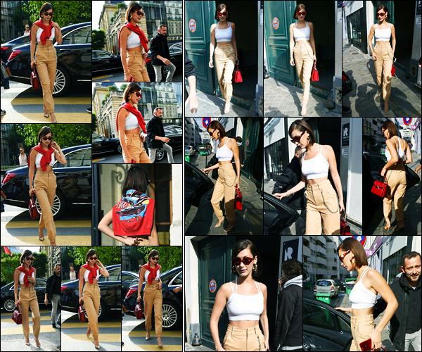 01.07.2017 ─ Bella Hadid a été photographiée arrivant puis quittant au showroom de « Miu Miu » étant à Paris FR.Un peu plus tard, la belle a été photographiée quittant les locaux du studio de photos Rouchon puis elle a été vu arrivant à son hôtel. Sa tenue est un top