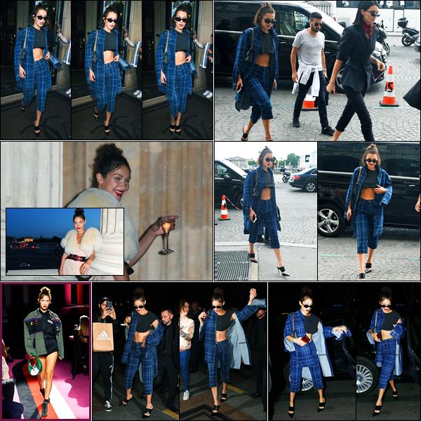 02.07.2017 ─ Bella Hadid a été photographiée arrivant au défilée pour la marque de « Miu Miu » étant à Paris, FR.Bella était présente lors de l'after party du défilé de Miu Miu en compagnie de Kendall Jenner. Puis elle a été vue quittant la soirée puis arrivant à l'hôtel.
