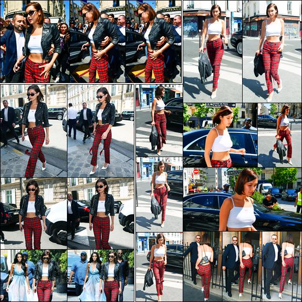 04.07.2017 ─ Bella Hadid a été photographiée, alors, qu'elle se promenait dans les rues, étant dans Paris, France.Un peu plus tard, Bella Hadid a été photographiée quittant le restaurant L'Avenue puis arrivant à un studio de photos. Concernant sa tenue, c'est un top !
