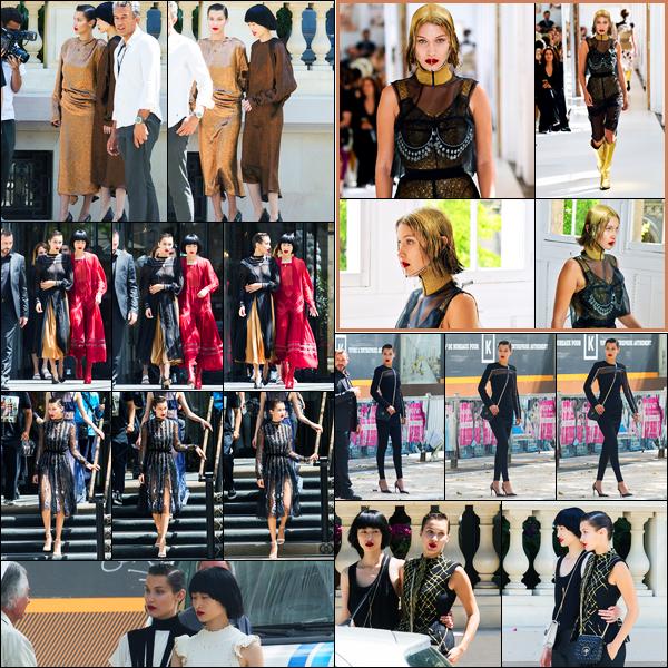 05.07.2017 ─ Bella Hadid a été photographiée, alors, qu'elle était sur le set du photoshoot pour « Loewe » à Paris.Un peu plus tôt, la belle B. a défilé pour Maison Margiela, je n'aime pas du tout, c'est un gros flop. Pour le photoshoot, j'ai hâte de le voir pour ma part...