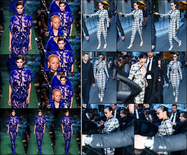 05.07.2017 ─ Bella Hadid a défilée pour la marque de haute couture «Fendi» collection automne/hiver dans Paris.Un peu plus tard, la belle mannequin Bella Hadid a été photographiée quittant le défilé. Concernant ses tenues, je ne suis pas trop fan, c'est donc un flop