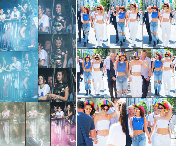 08.07.2017 ─ Bella Hadid a été photographiée, alors, qu'elle était à la « Pride Parade », étant dans Londres en UK.La belle B. était en compagnie de son amie, la mannequin Kendall Jenner, lors de cette parade. Concernant sa tenue, c'est un beau top de ma part, perso