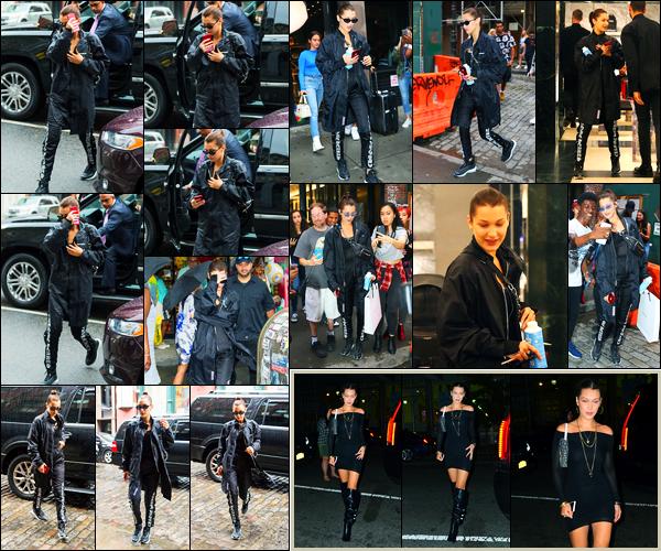 02.08.2017 ─ Bella Hadid a été photographiée alors qu'elle se promenait étant dans les rues à Soho, à New-York.Bella a ensuite été photographiée faisant du shopping à Balloon Saloon puis à Balenciaga et dans la soirée elle a été vue avec Kendall et Hailey à NY. Top