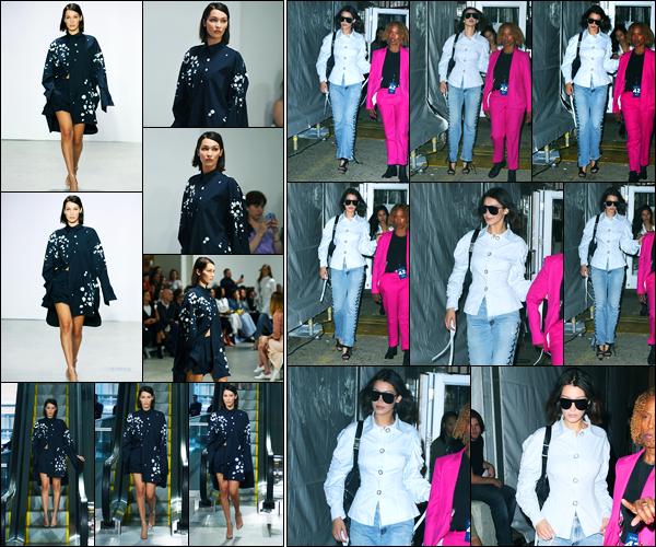 11.09.2017 ─ Bella Hadid a défilée pour le styliste « Oscar De La Renta », pour la fashion week, dans New-York C.Plus tard, la belle mannequin a été photographiée alors qu'elle était dans les rues de New-York... Concernant sa tenue, c'est un très jolie top de ma part !