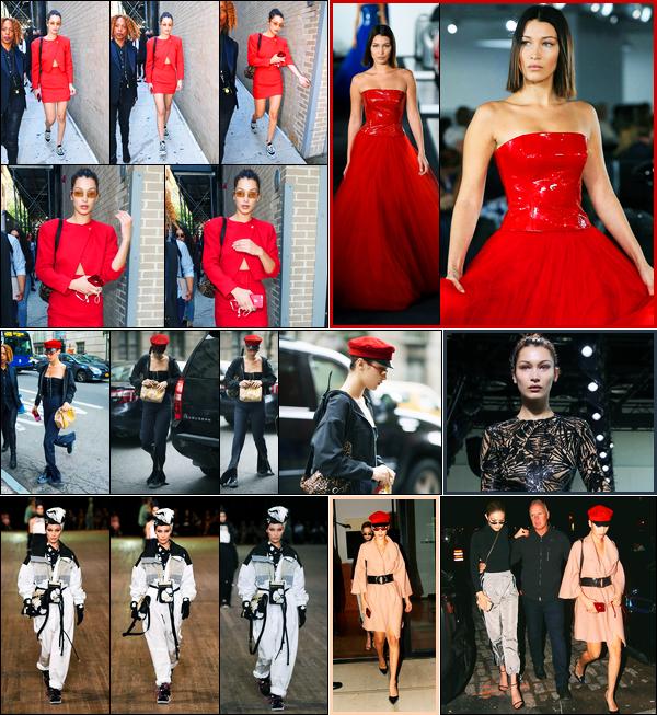 12.09.2017 ─ Bella Hadid a défilée, pour la marque « Ralph Lauren », pour la fashion week, étant dans New-York.Plus tard, elle a était vue quittant le défilé. Le lendemain, elle a défilé pour Michael Kors et Marc Jabobs. Et aussi elle été vue dans les rues de New-York..