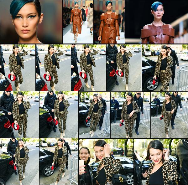 21.09.2017 ─ Bella Hadid a été photographiée, alors, qu'elle arrivait au défilé « Fendi », étant dans Milan en Italie.Tout comme son amie, Kendall Jenner, la belle a défilée pour la marque. La tenue est vraiment horrible je trouve... Mais sa tenue à elle, est un beau top