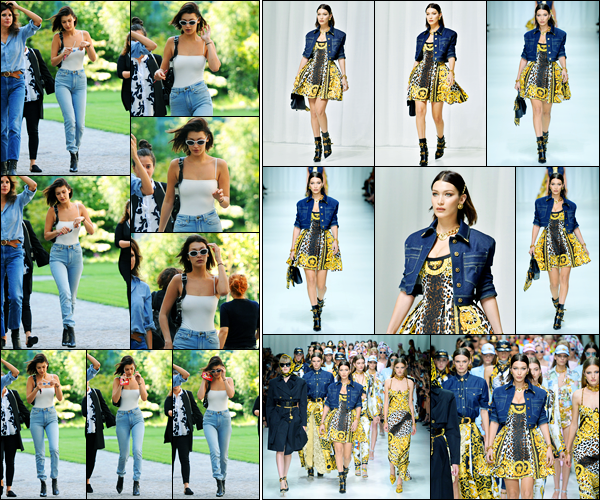 22.09.2017 ─ Bella Hadid a été photographiée arrivant sur les lieux du défilé « Versace », étant, dans Milan, Italie.La belle B. a une nouvelle fois partagée le défilé en compagnie de son amie, Kendall Jenner. Concernant ces deux tenues, c'est deux beau tops pour moi.