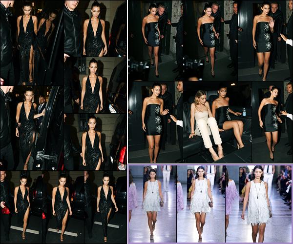 22.09.2017 ─ Bella Hadid a été photographiée arrivant puis quittant le dîner pour « Versace » étant à Milan, Italie.Un peu plus tôt dans la journée, la belle a également défilé pour la marque « Bottega Veneta ». Concernant ses deux tenues, c'est deux tops de ma part.
