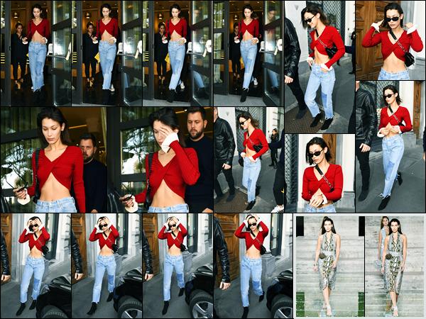 23.09.2017 ─ Bella Hadid a été photographiée alors qu'elle quittait son hôtel, étant dans la ville dans Milan, Italie.La belle enchaîne les défilés pour la fashion week à Milan. Cette fois-ci, c'est pour « Salvatore Ferragamo » que Bella a défilé ! Concernant sa tenue, top !