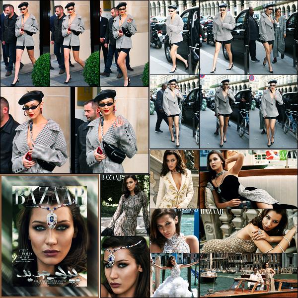 27.09.2017 ─ Bella Hadid a été photographiée, alors, qu'elle quittait son hôtel, étant, dans la ville, à Paris, France.Bella a ensuite été photographiée arrivant au musée de la mode. Elle fait également la couverture de Harper's Bazaar de Arabia, du mois d'Octobre. Top !