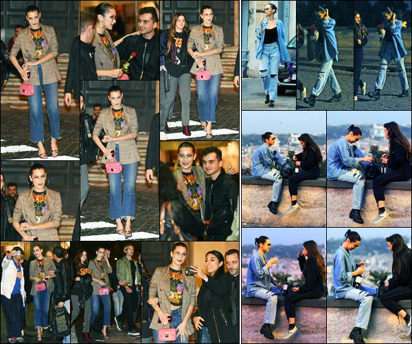 27.10.2017 ─ Bella Hadid a été photographiée alors qu'elle se promenait, dans les rues étant dans Rome en Italie.Deux jours après, la belle mannequin a été photographiée assise avec une amie entrain de boire du vin et manger une glace... Ses tenues sont des tops !