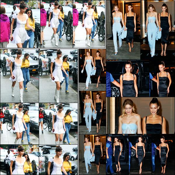 09.10.2017 ─ Bella Hadid a été photographiée, alors, qu'elle se promenait, dans les rues, de la ville de New-York.Dans la soirée, la belle mannequin a été photographiée, quittant l'appartement de sa maman, avec Gigi Hadid... Concernant ses deux tenues, deux tops !