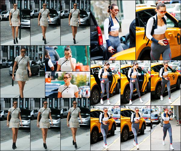 11.10.2017 ─ Bella Hadid a été photographiée, alors, qu'elle arrivait à l'appartement de Gigi Hadid, à New-York C.Le lendemain, la belle mannequin a été photographiée alors qu'elle était dans les rues de New-York City... Concernant ces deux tenues, c'est deux tops !