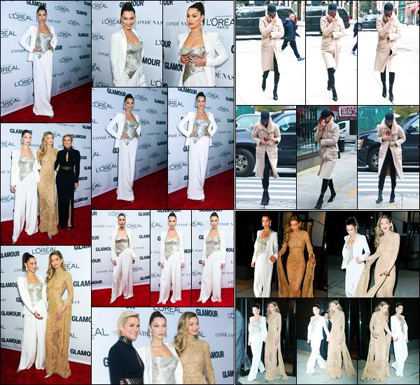 13.11.2017 ─ Bella Hadid était présente au « Glamour Women of the Year Awards » se déroulant à New-York City.Plus tôt, elle a été photographiée arrivant à son appartement. Pour la cérémonie, elle était présente aux côté de sa maman et de Gigi. Sa tenue est top !