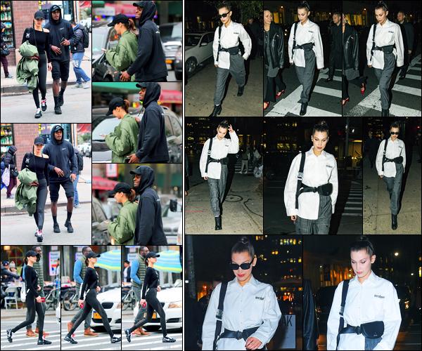 08.11.2017 ─ Bella Hadid a été aperçue, alors, qu'elle se promenait dans les alentours de Chinatown, à New-York.Dans la soirée, la belle a été photographiée arrivant à son appartement à New-York, dans une autre tenue. Concernant celle-ci, c'est deux bofs pour moi.