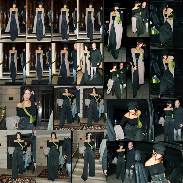 07.12.2017 ─ Bella Hadid a été photographiée, alors, qu'elle quittait son hôtel Londonien, étant dans Londres, UK.Un peu plus tard dans soirée, la blle a été photographiée alors qu'elle arrivait à un restaurant avec son ami.. Concernant sa tenue, c'est un très jolie top !