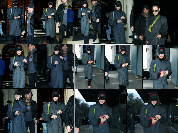 09.12.2017 ─ Bella Hadid a été photographiée, alors, qu'elle quittait son hôtel, étant, dans Londres en Angleterre.Un peu plus tard dans soirée, la belle a été photographiée alors qu'elle se promenait dans Londres ! Concernant sa tenue, c'est un très jolie top pour moi