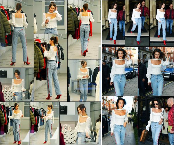 08.12.2017 ─ Bella Hadid a été photographiée alors qu'elle était dans la boutique « Balenciaga », étant à Londres.Plus tard, Bella H. a été photographiée alors qu'elle quittait la boutique, pleins de sac à la main... Concernant sa tenue, c'est un très jolie top de ma part !