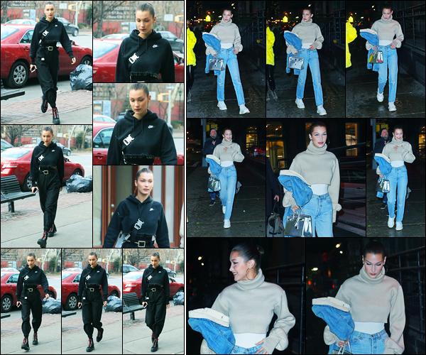 17.12.2017 ─ Bella Hadid a été photographiée, alors, qu'elle arrivait au « Bar Pitti » se situant dans New-York City.Plus tard dans la soirée, la belle mannequin a été photographiée, alors, qu'elle se promenait dans les rues à New-York ! Concernant les tenues, des tops !