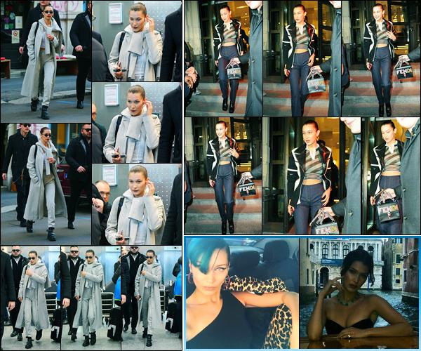 13.01.2018 ─ Bella Hadid a été photographiée, alors, qu'elle quittait le magasin « Sigarette Elettroniche » à Milan.Plus tard, la belle mannequin a été photographiée alors qu'elle quittait son hôtel, toujours dans la ville de Milan en Italie, où elle défilera prochainement...