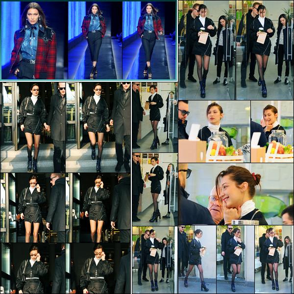 14.01.2018 ─ Bella Hadid a été photographiée, alors, qu'elle quittait son hôtel, qui se situe, dans la ville de Milan.Plus tard, la belle mannequin a été photographiée alors qu'elle quittait un magasin, puis elle a défilée pour la marque « DSQuared ». Ses tenues sont top