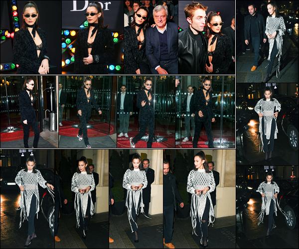 20.01.2018 ─ Bella Hadid était présente lors du défilé «Dior Homme Menswear» collection Fall/Winter dans Paris.Plus tôt, Bella H. a été photographiée quittant son hôtel « The Royal Monceau », puis plus tard arrivant à l'Hôtel Costes. Concernant ses tenues sont tops.