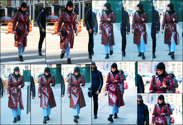 -31/01/2018- ─ Bella Hadid a été photographiée alors qu'elle se promenait dans NoHo étant un quartier de New-York City.C'est en compagnie d'un de ses amis que B. est apparue en ce dernier jour de janvier ! Concernant sa tenue, le manteau ne rend pas bien avec la tenue.