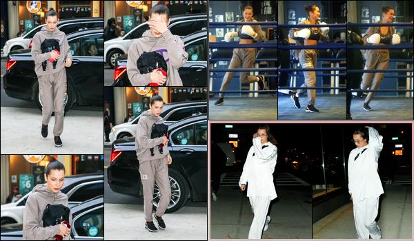 -06/02/2018- ─ Bella Hadid a été photographiée se rendant à son cours de boxe à la salle « Gotham Gym » à New-York C.Plus tard dans la soirée, la belle mannequin a été photographiée arrivant à l'appartement de sa grande soeur Gigi. Ses deux tenues sont des petits tops !
