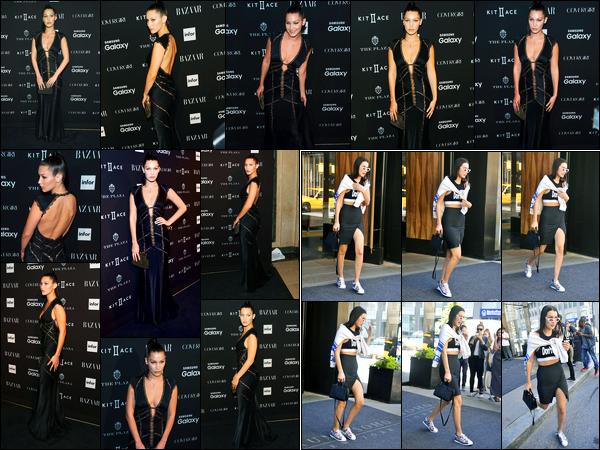 16.09.2015 ─ Bella Hadid était présente lors de la cérémonie « Harper's Bazaar Icons » étant dans New-York City.Sa soeur Gigi et son amie Kendall Jenner étaient également présente. Plus tôt dans la journée, la belle a été photographiée quittant son hôtel.. Des tops !