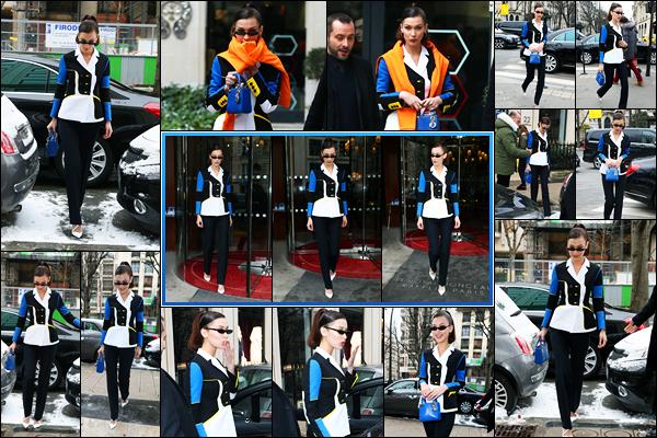 -01/03/2018- ─ Bella Hadid a été photographiée, alors, qu'elle quittait son hôtel Parisien dans les rues, étant, dans Paris !Plus tard dans la journée, la belle mannequin Bella H. a été photographiée dans les rues de la capitale ! Concernant sa tenue, c'est un top pour ma part..