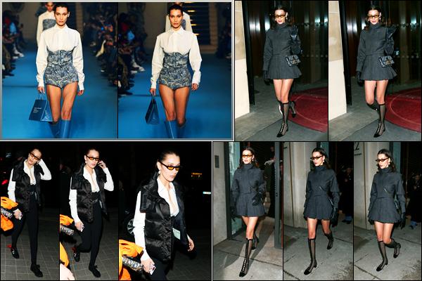 -01/03/2018- ─ Bella Hadid a été photographiée, alors, qu'elle quittait son hôtel Parisien dans les rues, étant, dans Paris !Plus tard dans la journée, la belle mannequin Bella Hadid a été photographiée dans les rues de la capitale ! Puis a défilée pour «Off-White». Un beau top.