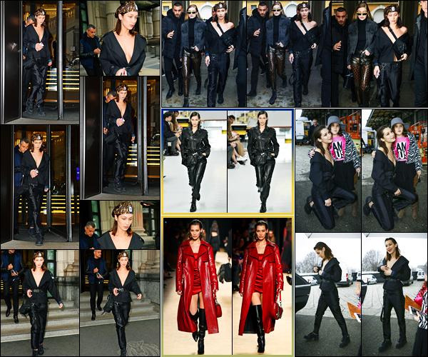 -23/02/2018- ─ Bella Hadid a été photographiée alors qu'elle quittait son hôtel qui se situe dans la ville dans Milan, Italie.La belle mannequin Bella H. a défilé pour « Tod's » ainsi que « Roberto Cavalli »... Puis elle a été photographiée quittant les lieux des défilés... Des tops !