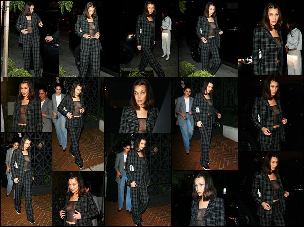 -13/03/2018- ─ Bella Hadid a été photographiée alors qu'elle arrivait au restaurant « Gracias Madre » au West Hollywood.La belle B. a participé à une soirée privée au restaurant de W.H... C'est dans une tenue de la marque « Dior » que la belle nous a fait un très beau top !