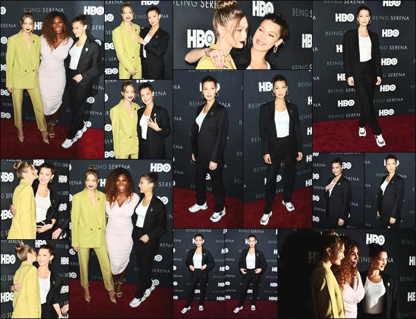 -25/04/2018- ─ Bella Hadid était présente lors de l'avant-première de « Being Serena » par HBO étant dans New-York C. !Notre jeune mannequin était en compagnie de sa grande s½ur Gigi Hadid... Concernant la tenue de notre mannequin, c'est un très jolie top de ma part !