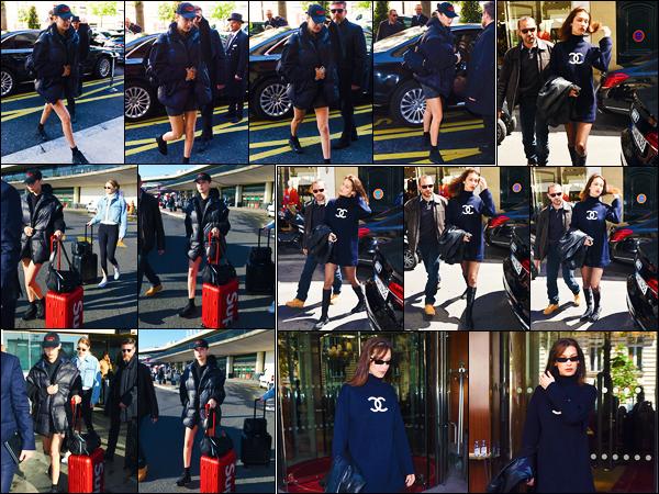 -02/05/2018- ─ Bella Hadid a été photographiée, alors, qu'elle arrivait à son hôtel « Le Royal Monceau » étant dans Paris.La belle mannequin a ensuite été photographiée quittant son hôtel en compagnie de sa s½ur Gigi H. Concernant sa tenue, c'est un petit top de ma part !