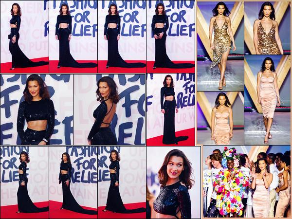 -13/05/2018- ─ Bella Hadid était présente lors de la soirée « Fashion For Relief » qui avait lieu dans la ville dans Cannes !La belle mannequin Bella Hadid a défilé lors de la soirée dans deux tenues différentes. Concernant sa tenue du tapis, c'est un très jolie top pour ma part