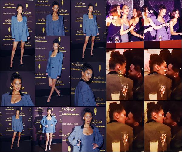 -10/05/2018- ─ Bella Hadid était présente lors de la soirée « Magnum x Alexander Wang » qui avait lieu dans Cannes, FR.Lors de la soirée, nous avons pu apercevoir un baiser entre Bella et The Weeknd, ils sont donc de nouveau ensemble. Concernant sa tenue, c'est un top.