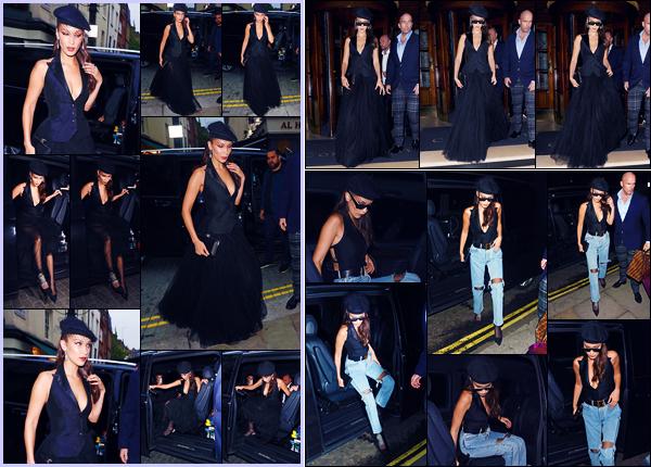-29/05/2018- ─ Bella Hadid a été photographiée, alors, qu'elle arrivait à la soirée « Dior Backstage » étant dans Londres !La belle mannequin s'est donc rendue au dîner puis par la suite, elle a été photographiée dans les rues de Londres. Ses tenues sont des tops de ma part.
