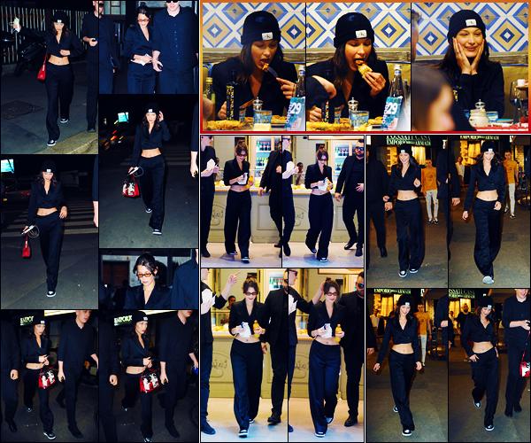 -16/06/2018- ─ Bella Hadid a été photographiée, alors, qu'elle arrivait au restaurant « Assaje » étant dans Milan en Italie.La belle mannequin a ensuite été photographiée à l'intérieur puis sortant du restaurant. Plus tôt, elle a été vue à la boulangerie Luini ! Sa tenue est top.