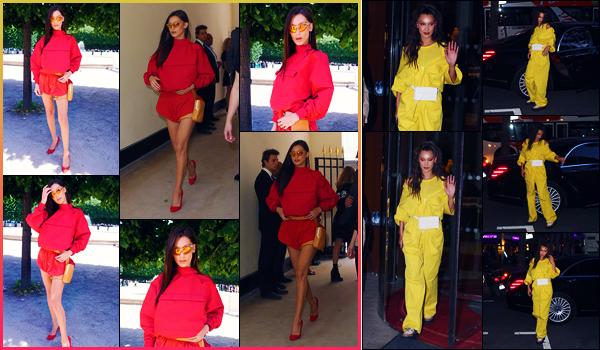 -21/06/2018- ─ Bella Hadid a été photographiée, alors, qu'elle arrivait au défilé de « Louis Vuitton » étant dans Paris, FR !La belle mannequin a ensuite été photographiée alors qu'elle quittait son hôtel « Le royal Monceau » étant dans Paris ! Ses tenues sont des beaux tops !