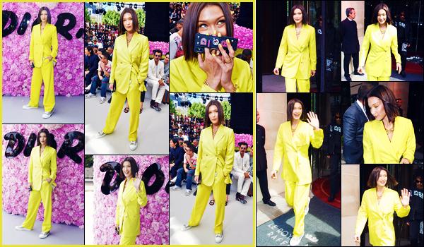 -23/06/2018- ─ Bella Hadid était présente lors du défilé de haute-couture « Dior's Men's SS19 » étant dans Paris, France ! La belle mannequin a été photographiée plus tôt, quittant son hôtel... C'est les cheveux plus court et dans une tenue jaune qu'elle est apparue. Un top !
