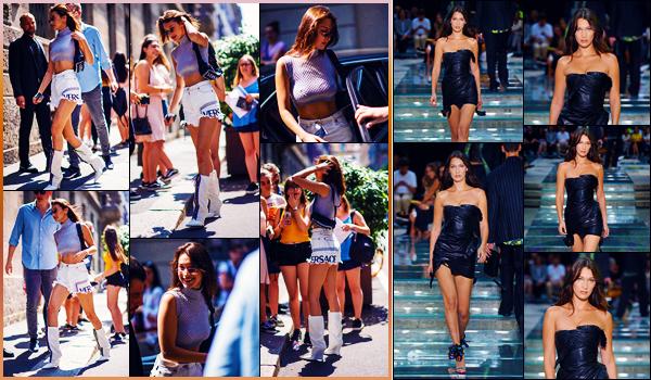 -16/06/2018- ─ Bella Hadid a défilé lors du défilé de la marque « Versace's SS19 Men's Show », qui se déroulait, à Milan !La belle mannequin B. est d'abord arrivée sur les lieux du défilé entouré de quelques fans présent ! Concernant sa tenue, c'est un jolie top pour ma part.